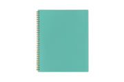 8.5x11 size flexible back cover in a mint color and gold twin-o binding