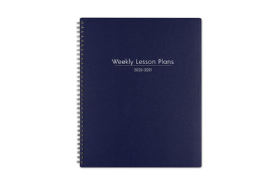 A solid navy blue front cover for the Blue Sky teacher lesson planner and silver text of Weekly lesson plans 2020-21