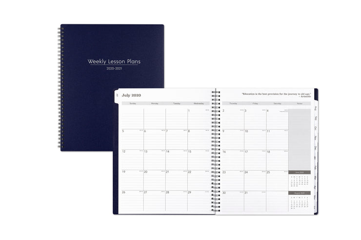 A professional looking weekly lesson planner featuring the July 2020 monthly spread with lined writing space and notes section