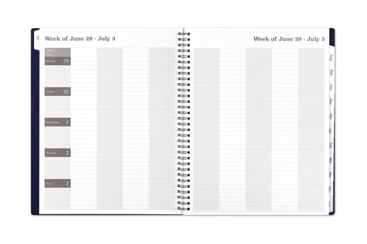 Weekly lesson planner for teacher in 8.5x11 size featuring a weekly format with subject line, class times, and dates for note taking