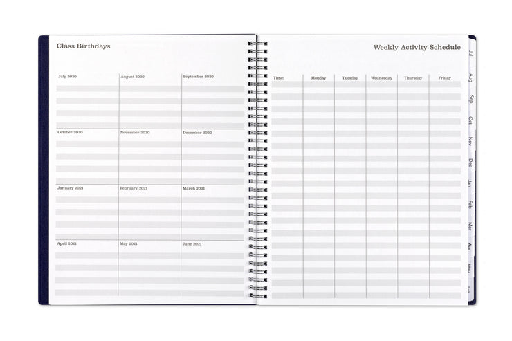 Record class birthdays by month and school weekly activity schedule on lined notes for this teacher planner