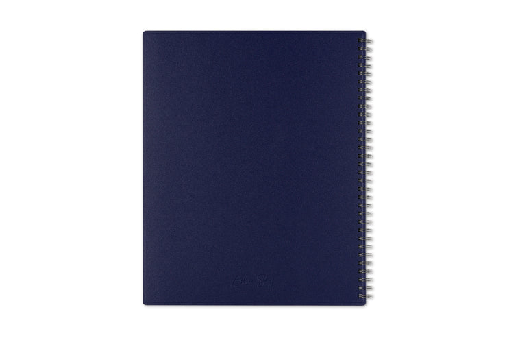 A solid navy back cover with silver twin wire-o binding for that professional teacher lesson planner look in the new academic year