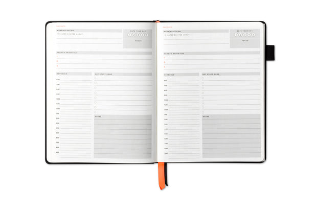 non-dated daily page, plan your day with this hourly schedule or agenda, priorities and notes section.