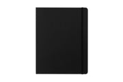 blue sky buzz planner in black cover, elastic band,