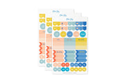 3 pack of academic stickers, flags, no school, test and quiz labels