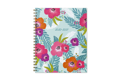 Teacher Lesson Planner by Blue Sky in 8.5x11 size with silver twin wire-o binding, flowers, and palm leaves front cover