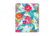 Bright flowers, palm leaves, and mint background cover on the 8.5x11 Teacher lesson planner with silver twin wire-o binding