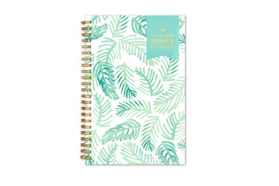 2021 dated weekly planner by day designer with palms leaves design in mint for front cover