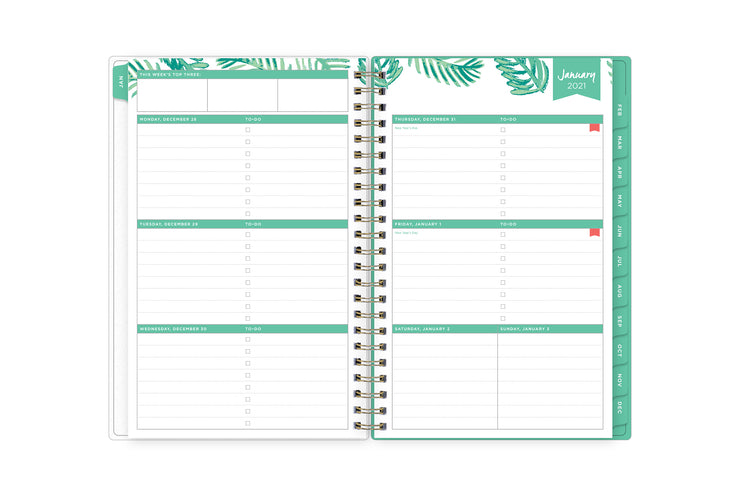 January 2021 weekly spread for 2021 with lined writing space, to-do lists, and this week's top three priorities section, to do lists, and ample writing space with mint green monthly tabs