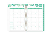 January 2021  monthly spread in 5x8 size featuring notes and to-do lists, mint borders and monthly tabs, palm accents, and mint green colors with ample lined writing space