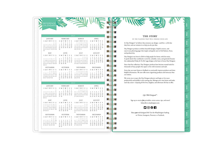 2021 and 2022 reference calendar for the new year on left page and day designer brand's story on right page.