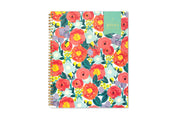 8.5 x 11 weekly monthly planner by day designer for blue sky in a floral brush design with red orange and yellow florals