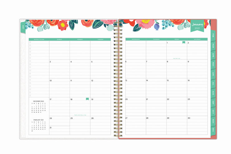 january 2021 - december 2021 monthly overview with square boxes and lined writing space for each date with mint accents