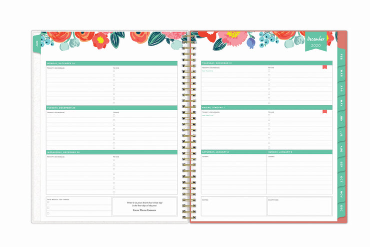2021 weekly planner featuring a weekly view, lined writing space, to do list, and mint accents