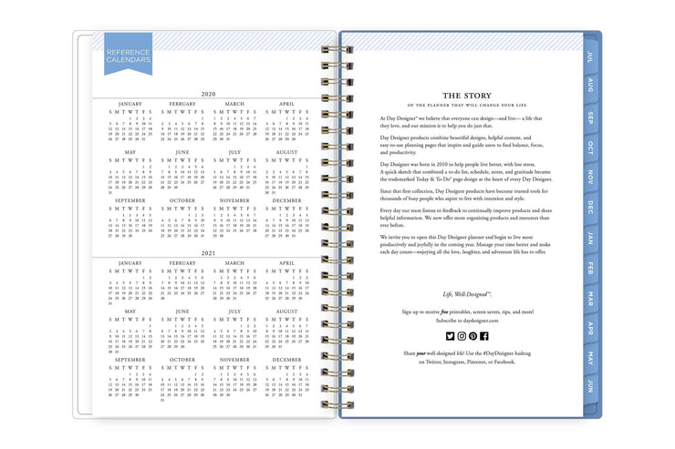 academic school year 2020-2021 reference calendar on left page and day designer brand story on right page.