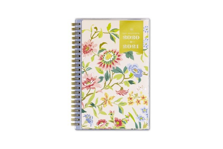 5x8 weekly planner with beige front cover and floral patterns featuring 2020-2021 gold foil