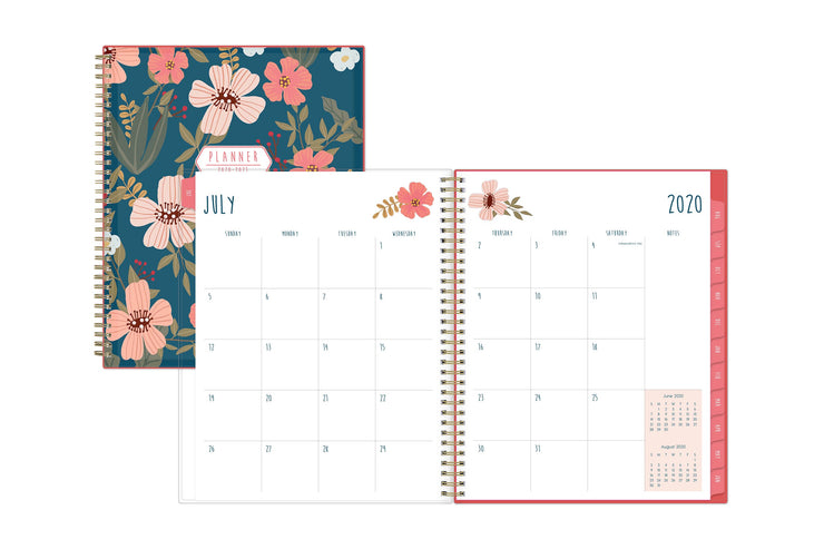 Blue Sky 2020-21 academic planner featuring a July 2020 monthly spread with blank spaces for notes