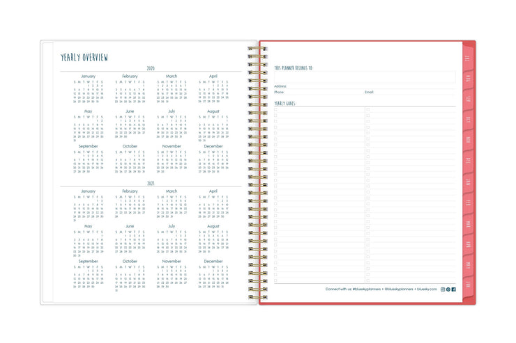 A 8.5x11 size planner with a 2020-2021 yearly overview on left page and yearly goals and check boxes on right page