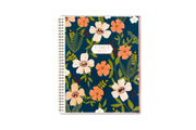 Mia Charro 8.5x11 planner with flowers and leaves on the front cover with gold twin wire-o binding