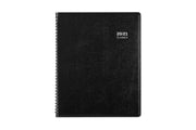 Aligned monthly planner by Blue Sky with a black, PJACO lexhide, durable and flexible front cover with black twin wire-o binding