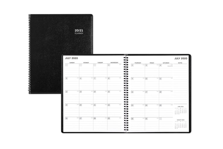 2020-21 monthly planner featuring a July 2020 monthly spread with lined writing space, notes section, and two reference calendars