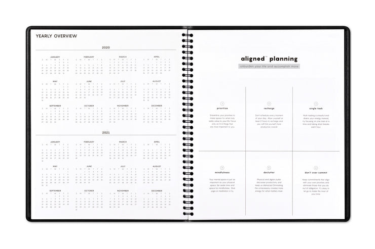 2020-2021 reference calendar on left page and guided tips for accomplishment on right page with this Blue Sky monthly planner