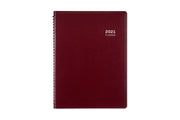 Blue Sky appointment book for 2021 in 8.25 x 11 size, burgandy, in a pajco lexide material.