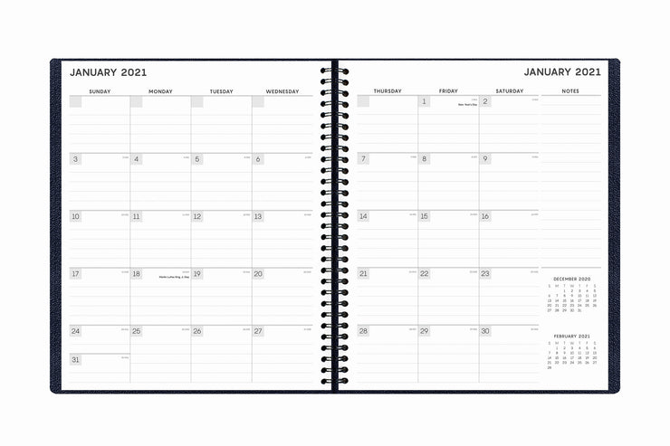 This monthly planner by Blue Sky for January 2021 to December 2021 featuring squared boxes for dates and lined writing space monthly view.