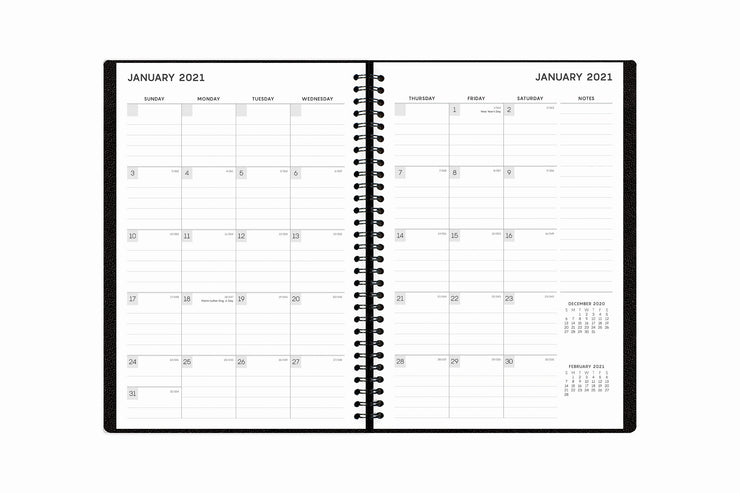 january 2021 to december 2021 monthly planner notes with monthly view, square boxes for dates, and lined writing space.