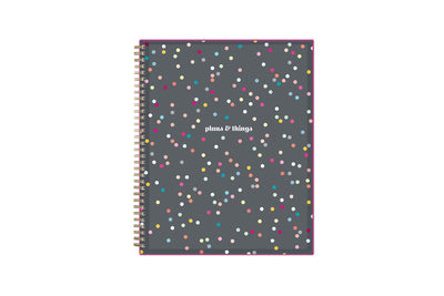 2021-2022 weekly and monthly student planner for the academic year with confetti style front cover, twin wire-o binding in a 8.5x11 planner size