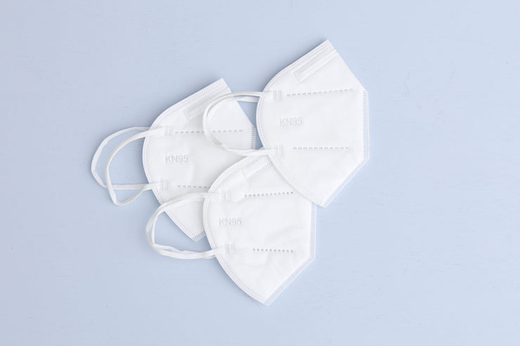 3 KN95 masks in white with 5-layers of protection, disposable, single-use and not intended for medical use