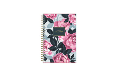 2021-2022 weekly monthly academic planner featuring a pink roses, shaded rose pedals, gold twin wire-o binding, and a compact 5x8 planner size