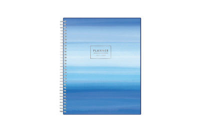 June 2021-2022 monthly planner for academic year featuring a classic wavy palette of blue pattern, silver twin wire-o binding, and in a 8x10 planner size
