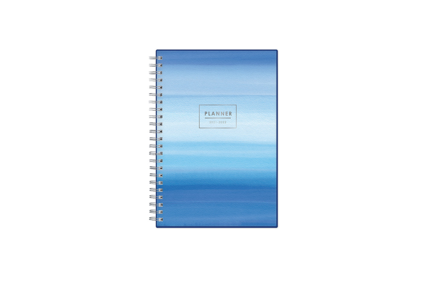 June 2021-2022 monthly planner for academic year featuring a classic wavy palette of blue pattern, silver twin wire-o binding, and in a compact 5x8 planner size