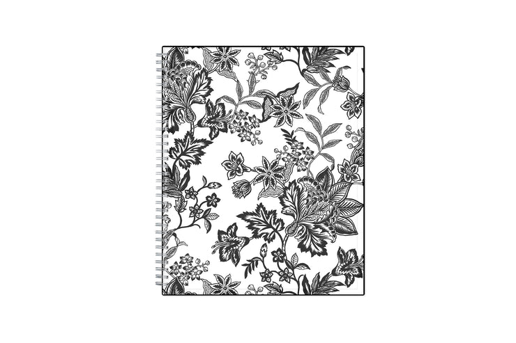 2021-2022 weekly and monthly planner featuring a black and white floral front cover pattern with twin wire-o binding in a 8.5x11 planner size