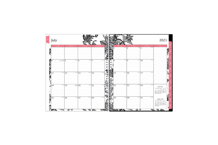 2021-2022 weekly and monthly academic planner featuring a monthly spread with lined writing space, a notes section, reference calendars, and pink monthly tabs in 8.5x11 size
