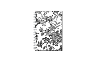 2021-2022 weekly and monthly planner featuring a black and white floral front cover pattern with twin wire-o binding in a 5x8 planner size