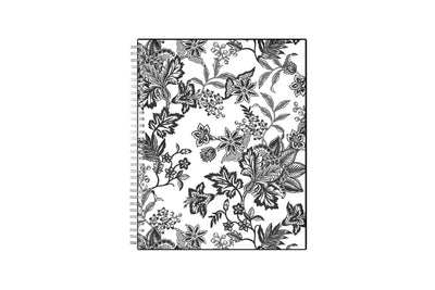 2021-2022 monthly planner featuring a black and white floral front cover pattern with twin wire-o binding in a 8x10 planner size