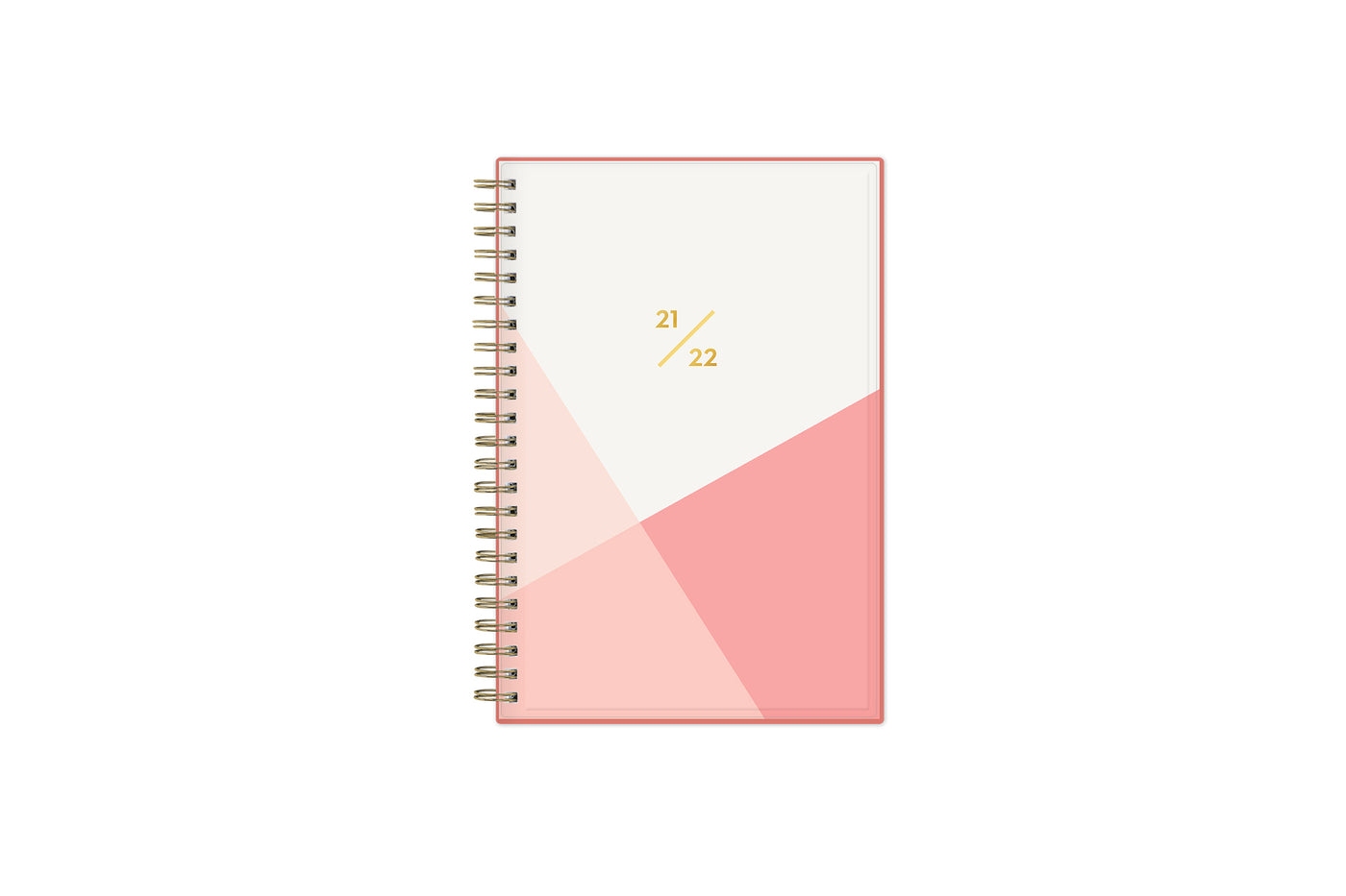 June 2021-2022 weekly and monthly planner for academic year featuring a geometric design in palette of pinks and white in 5x8 planner size