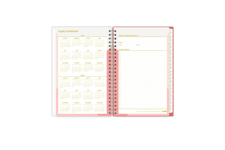 Featuring a yearly overview for 2021 - 2022, easily reference dates throughout the year and track your yearly goals in this 5x8 planner