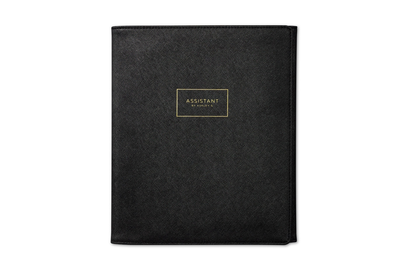 assistant by Ashley G, black trifold portfolio. with gold embossing