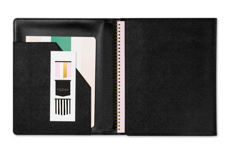 Assistant by Ashley G trifold padfolio featuring storage pockets for grid notes, three magnetic books marks, and a black faux leather material padfolio