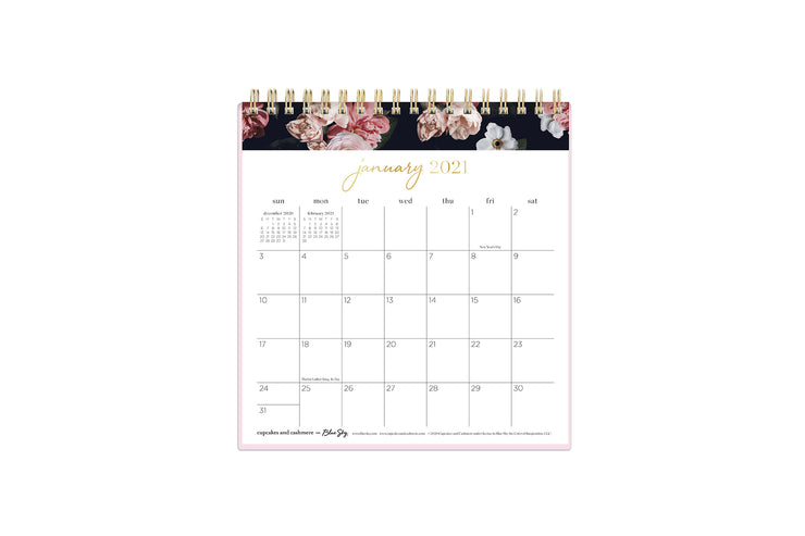 cupcakes and cashmere 6x6 desk calendar for 2021 with lined square boxes january to december