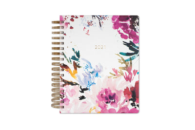 kelly ventura 2021 daily planner in hand brushed florals 7x9, gold twin-wire o binding, soft-touch hardcover LGB,
