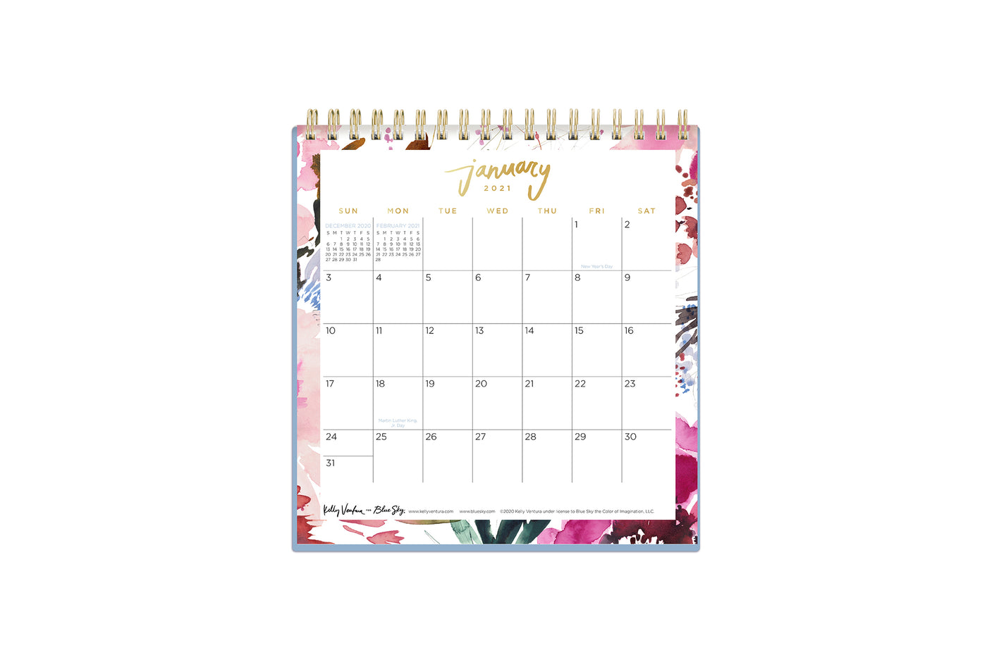kelly ventura 6x6 desk calendar for 2021 with lined square boxes january to december floral water color design