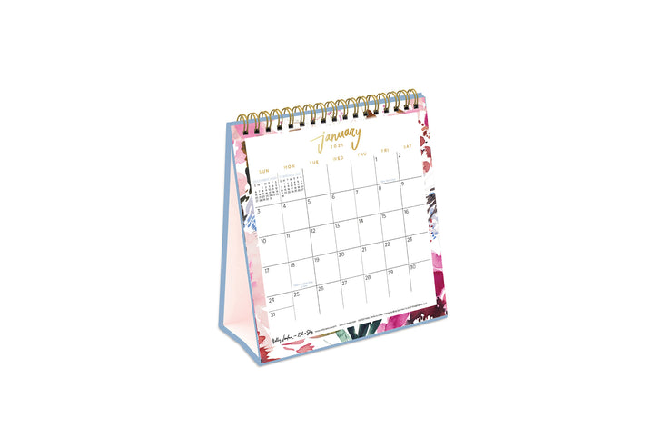 kelly ventura 6x6 desk calendar for 2021 with lined square boxes january to december