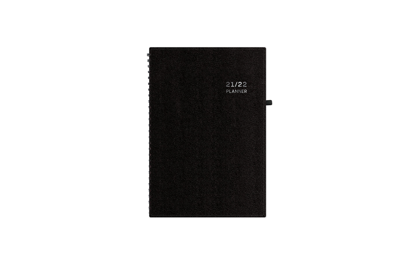 2021-2022 weekly monthly to-do academic planner featuring a pajco durable solid black front cover in 5x8 size