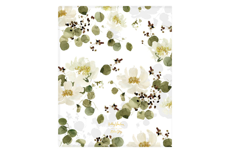 2021-2022 weekly monthly academic planner by Kelly Ventura for Blue Sky features a beautiful matte white, beige, and green floral pattern backcover