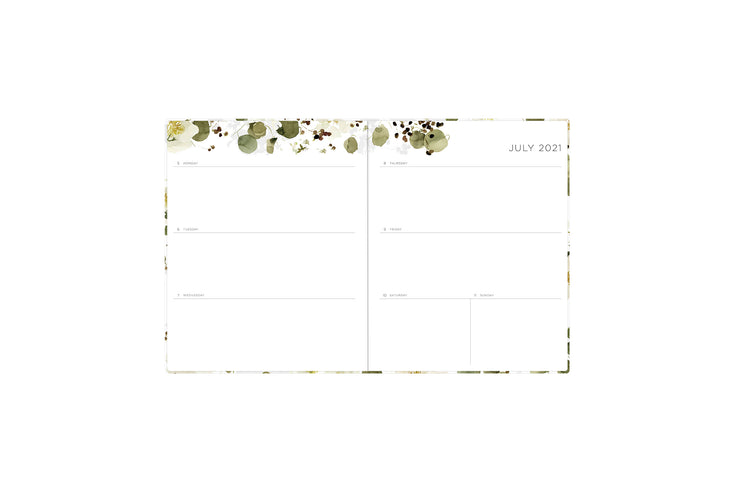 2021-2022 kelly ventura weekly and monthly planner in 8x10 planner size featuring a weekly spread with clean writing space, notes section, and reference calendar