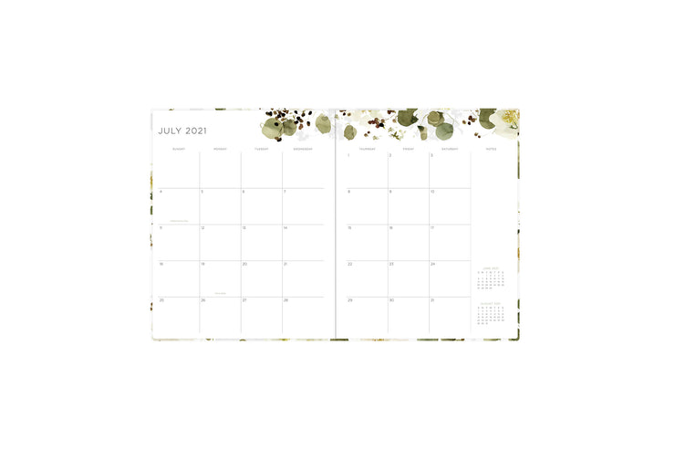 2021-2022 kelly ventura weekly and monthly planner in 8x10 planner size featuring a monthly spread with clean writing space, notes section, and reference calendar